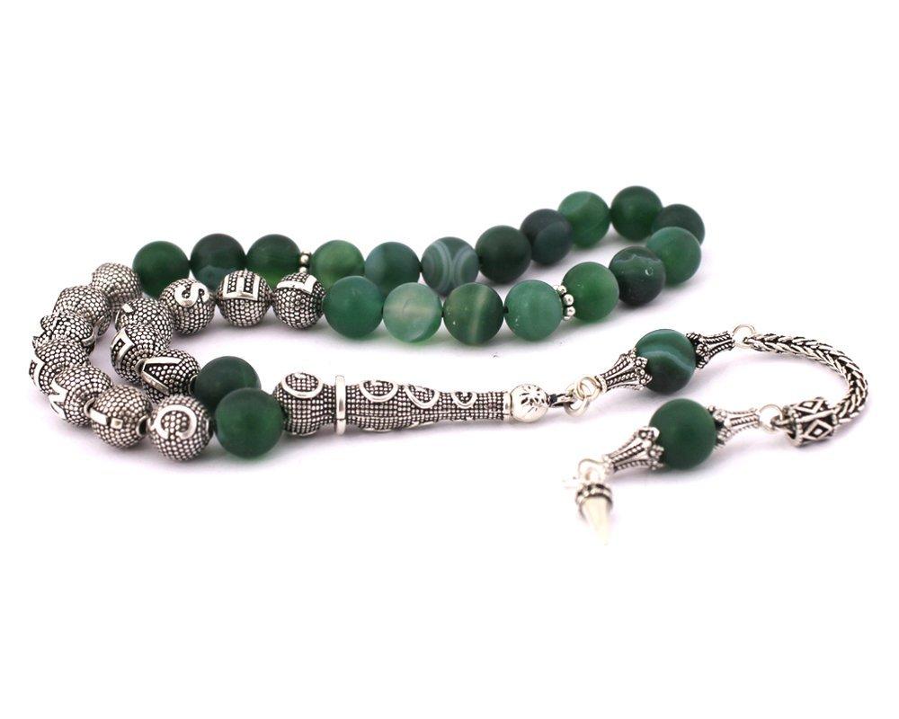 925 Ayar Gümüş Püsküllü Küre Kesim İsim Yazılı Yeşil Akik Tesbih
