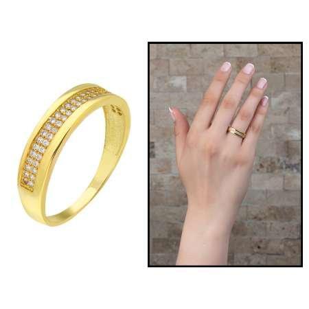 Tek Sıra Zirkon Taşlı Gold Renk 925 Ayar Gümüş Bayan Yüzük - Thumbnail