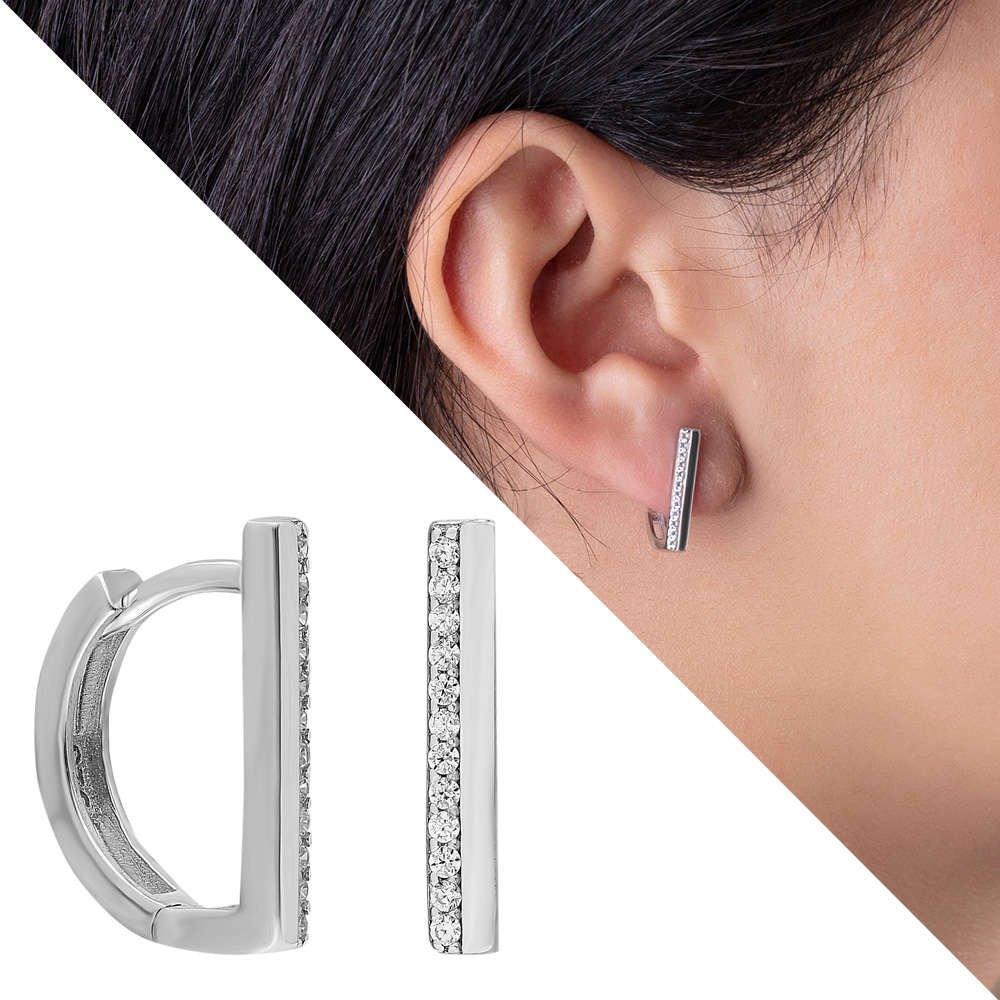 Tek Sıra Zirkon Taşlı Köşeli Tasarım 925 Ayar Gümüş Bayan Küpe