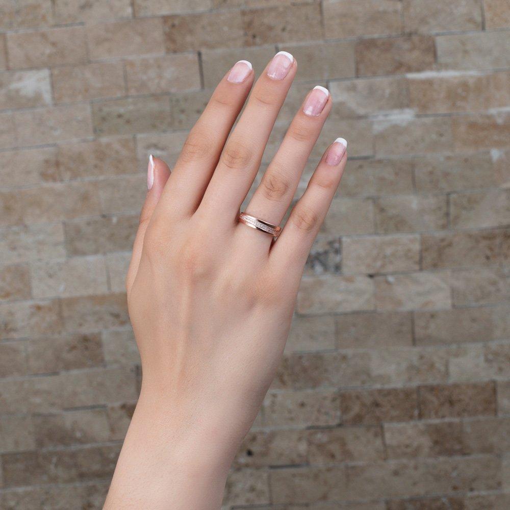 Tek Sıra Zirkon Taşlı Roz Renk 925 Ayar Gümüş Bayan Yüzük