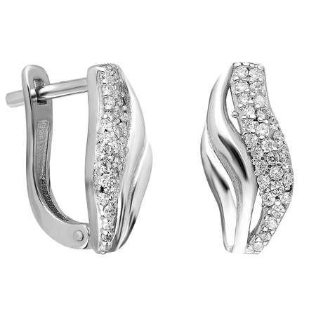 Tek Sıra Zirkon Taşlı Spiral Tasarım 925 Ayar Gümüş Bayan Küpe - Thumbnail