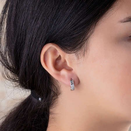 Tek Sıra Zirkon Taşlı Taç Tasarım 925 Ayar Gümüş Bayan Küpe - Thumbnail