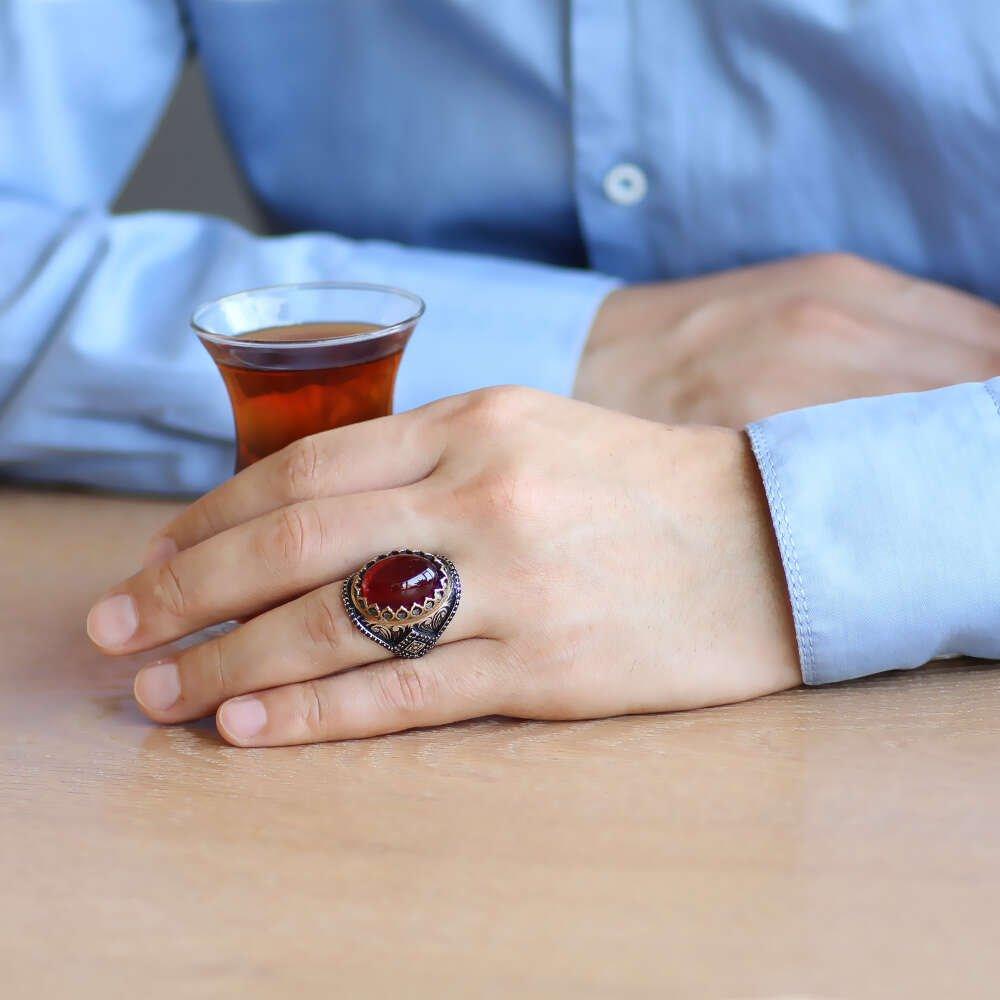 Tırnak Tasarım Kırmızı Lal Taşlı 925 Ayar Gümüş Erkek Yüzük
