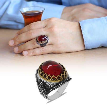 Tırnak Tasarım Kırmızı Lal Taşlı 925 Ayar Gümüş Erkek Yüzük - Thumbnail