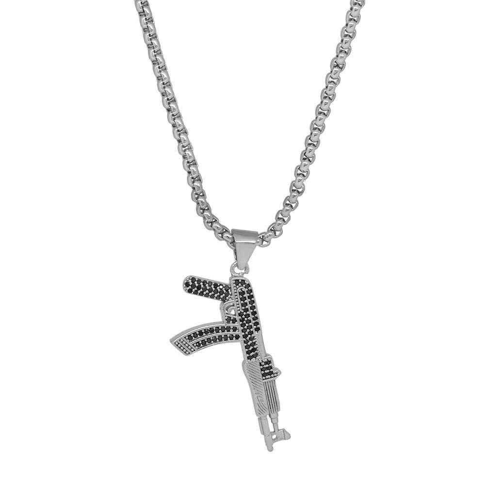 Tüfek Tasarım Beyaz Zirkon Taşlı Gümüş Renk Zincir Pirinç Kolye