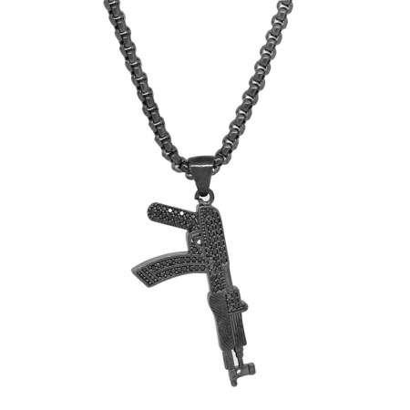 Tüfek Tasarım Siyah Zirkon Taşlı Siyah Renk Zincir Pirinç Kolye - Thumbnail