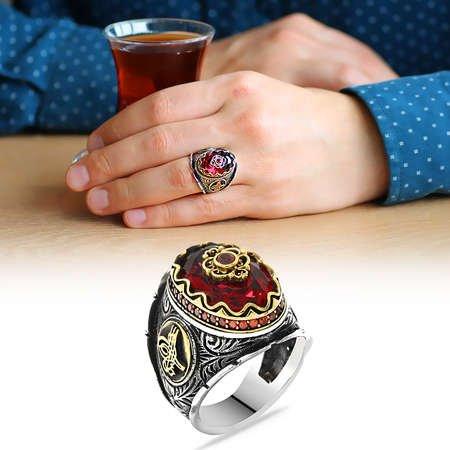 Tuğra Figürlü Faset Kesim Kırmızı Zirkon Taşlı 925 Ayar Gümüş Erkek Yüzük - Thumbnail
