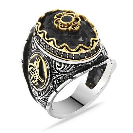 Tuğra Figürlü Faset Kesim Siyah Zirkon Taşlı 925 Ayar Gümüş Erkek Yüzük - Thumbnail