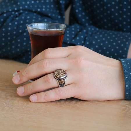 Tuğra İşlemeli Süleyman Mührü Motifli 925 Ayar Gümüş Erkek Yüzük - Thumbnail