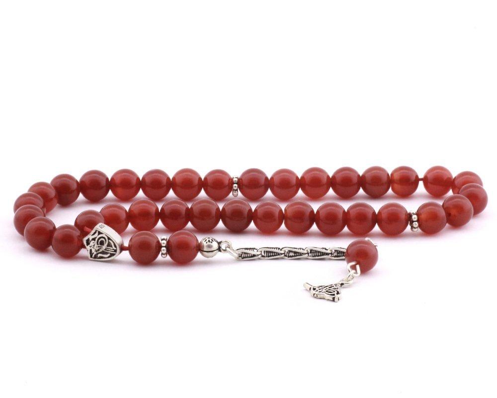 925 Ayar Gümüş Tuğra Püsküllü Küre Kesim Kırmızı Akik Tesbih
