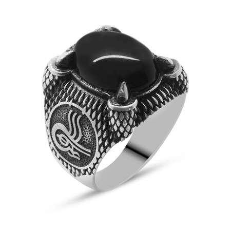 Tuğra Motifli Pençe Tasarım Siyah Oniks Taşlı 925 Ayar Gümüş Erkek Yüzük - Thumbnail