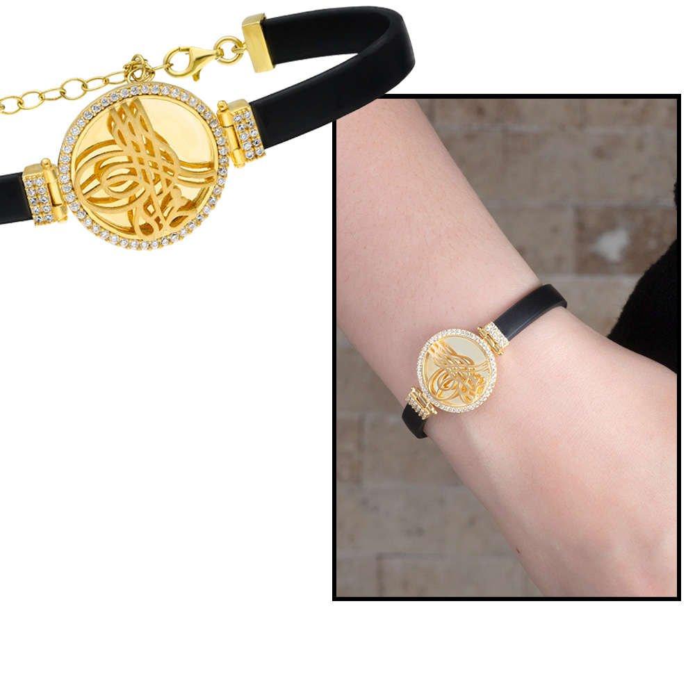 Tuğra Motifli Zirkon Taşlı Gold Renk 925 Ayar Gümüş Bayan Bileklik