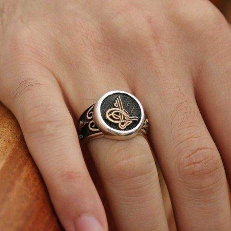 Özel Tasarım Tuğra Motifli 925 Ayar Gümüş Erkek Yüzük - Thumbnail