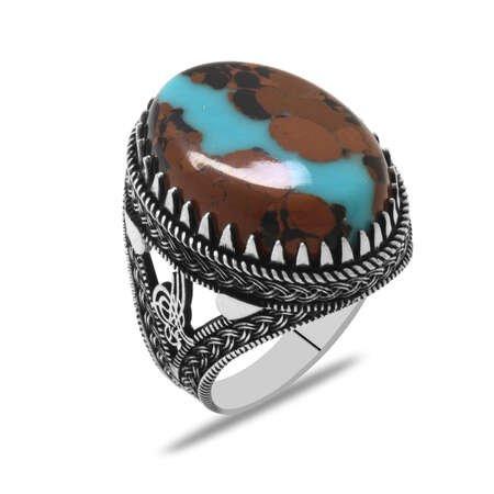 Tuğra Tasarım Doğal Arizona Turkuaz Taşlı 925 Ayar Gümüş Erkek Yüzük - Thumbnail