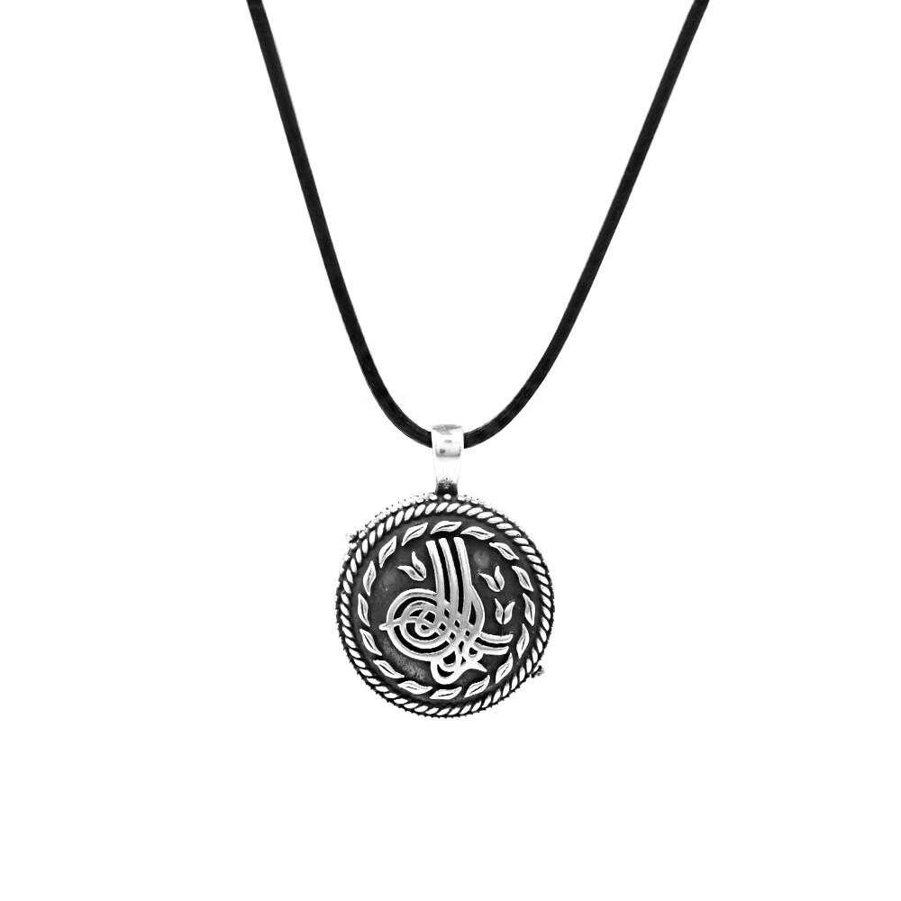 Tuğra Temalı Açılır Kapaklı İçinde Ayetel Kürsi Yazılı 925 Ayar Gümüş Dua Kolye