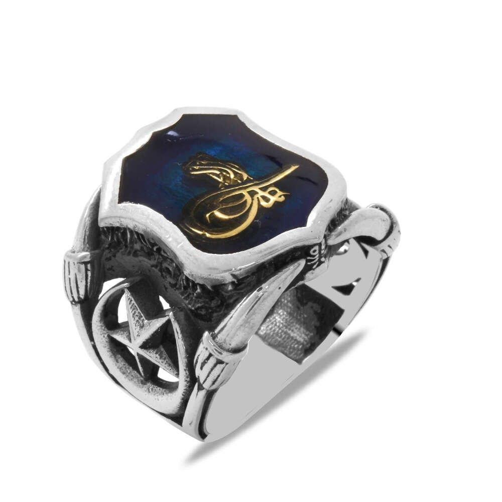 Tuğra Temalı Ayyıldız Detaylı Mavi Mineli 925 Ayar Gümüş Erkek Yüzük