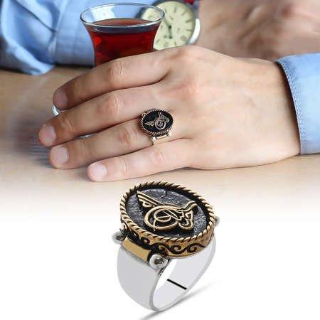 Tuğra ve Teşkilat Kabartmalı Çift Yönlü Kullanım 925 Ayar Gümüş Erkek Yüzük - Thumbnail