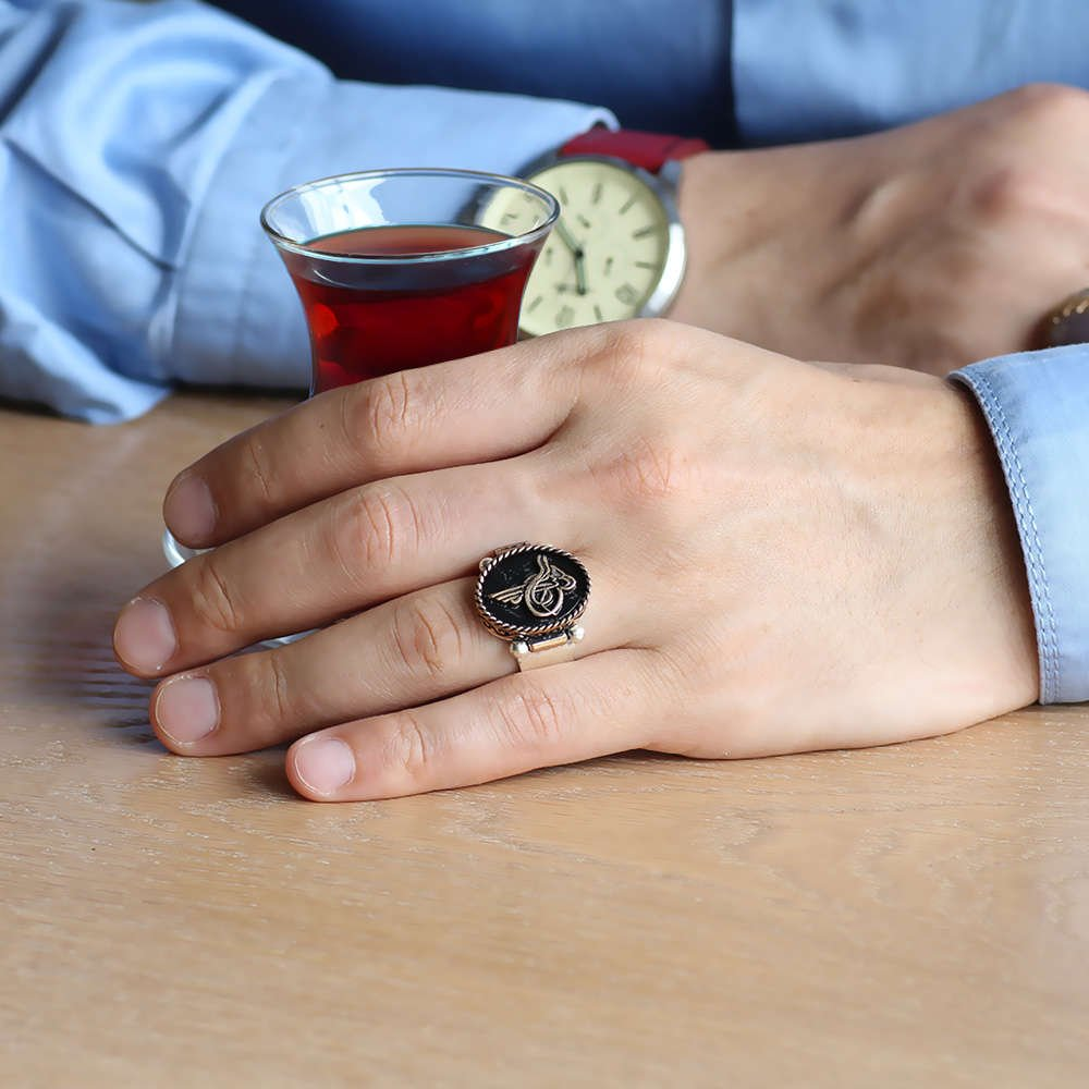 Tuğra ve Teşkilat Kabartmalı Çift Yönlü Kullanım 925 Ayar Gümüş Erkek Yüzük