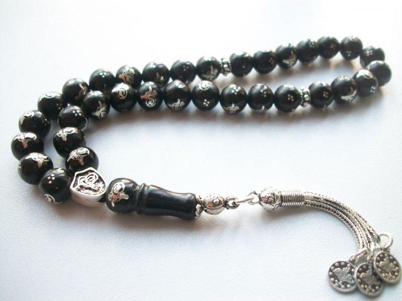 925 Ayar Gümüş Püsküllü Gümüş Tuğra İşlemeli Rus Oltu Tesbih (M-2)