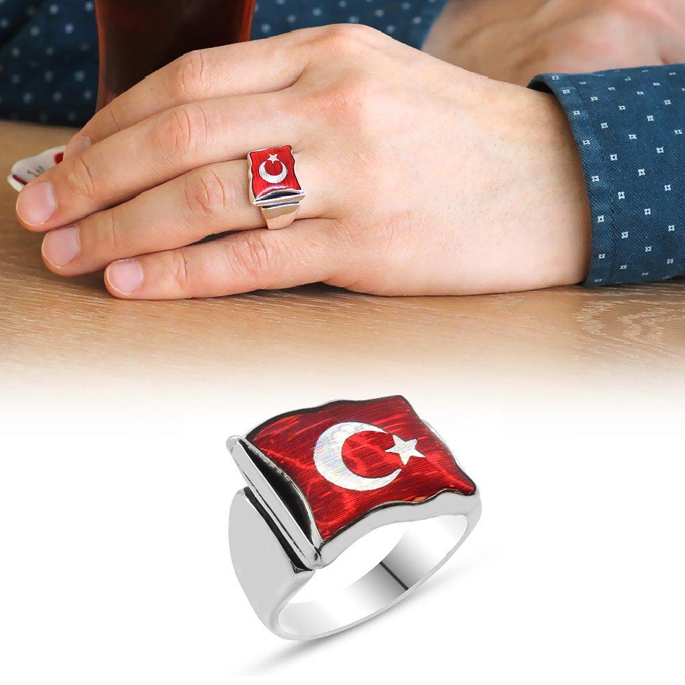 Türk Bayrağı Motifli Kırmızı Mineli 925 Ayar Gümüş Erkek Yüzük