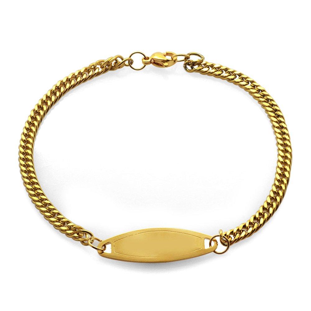 Çelik Zincirli Gold Renk Kişiye Özel İsim Yazılı Kadın Bileklik