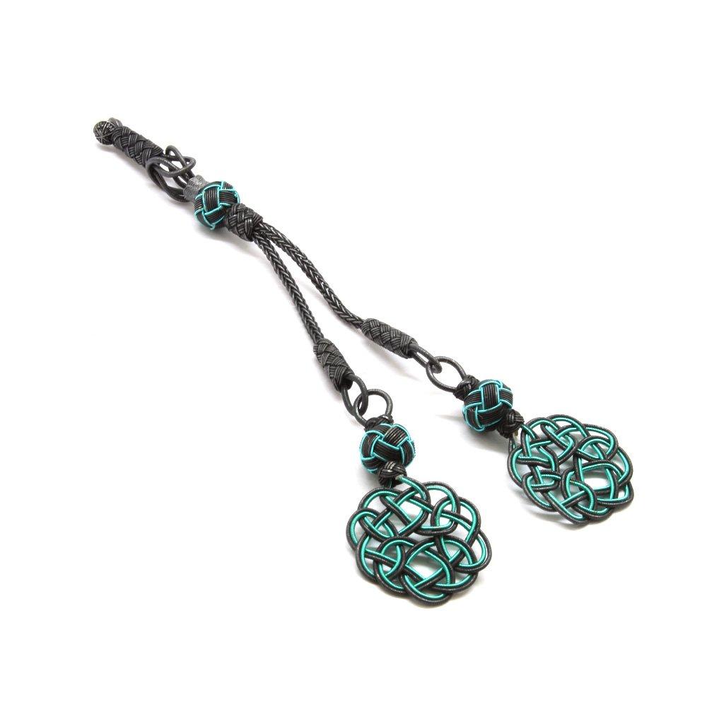 Turkuaz-Siyah Renk 1000 Ayar Gümüş 2'li Kazaz Püskül