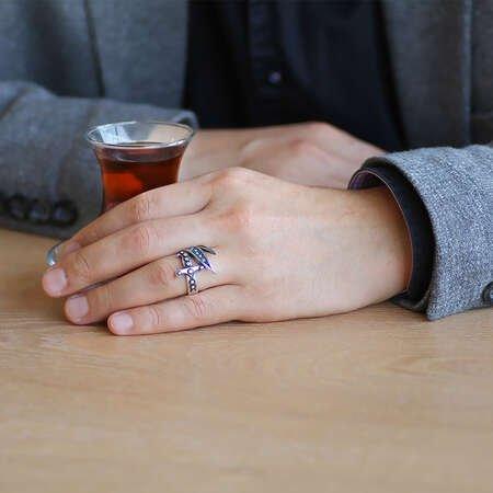 Turkuaz Taş Mıhlamalı Zülfikar Tasarım 925 Ayar Gümüş Erkek Yüzük - Thumbnail