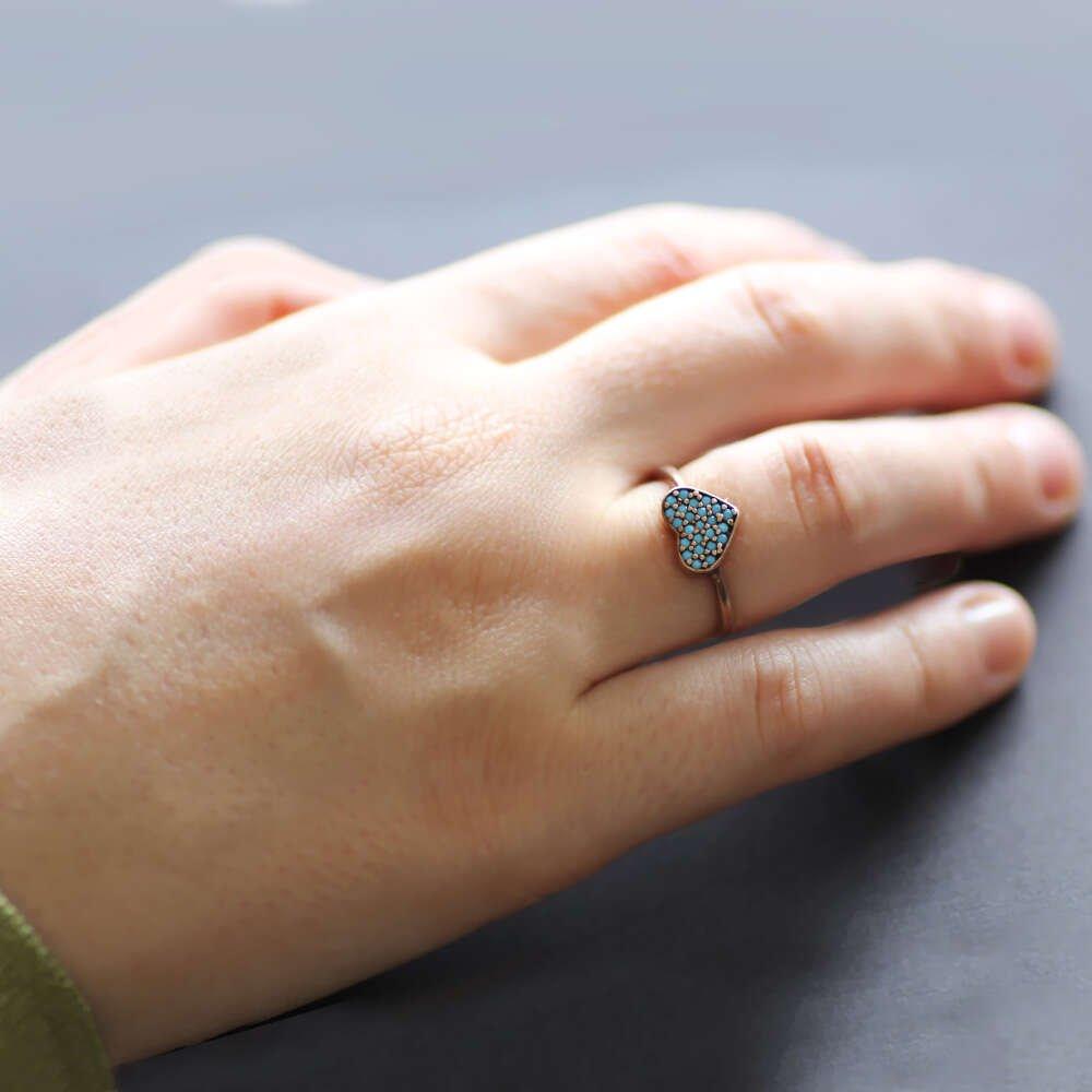Turkuaz Taşlı Kalp Tasarım Rose 925 Ayar Gümüş Bayan Yüzük