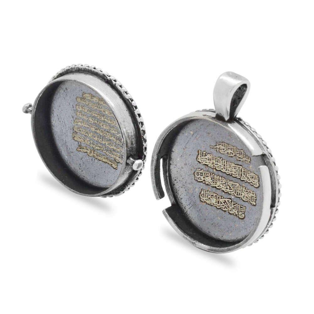 Üç Hilal Temalı Açılır Kapaklı İçinde Ayetel Kürsi Yazılı 925 Ayar Gümüş Dua Kolye