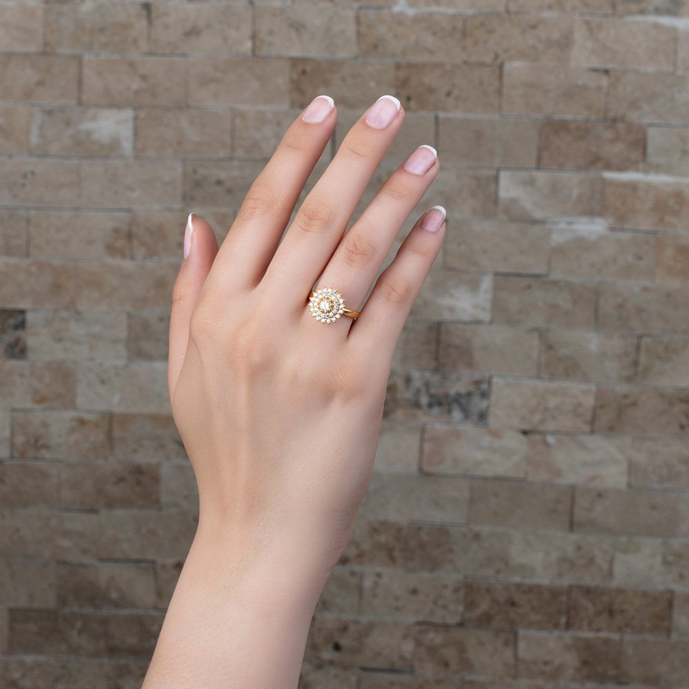 Üç Sıra Zirkon Taşlı Halka Tasarım Gold Renk 925 Ayar Gümüş Bayan Yüzük