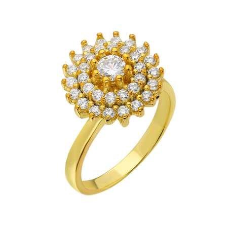 Üç Sıra Zirkon Taşlı Halka Tasarım Gold Renk 925 Ayar Gümüş Bayan Yüzük - Thumbnail