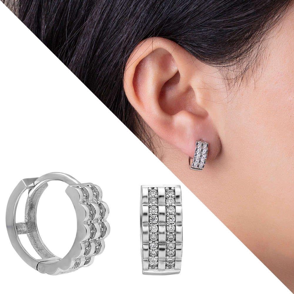 Üç Sıra Zirkon Taşlı Oval Tasarım 925 Ayar Gümüş Bayan Küpe