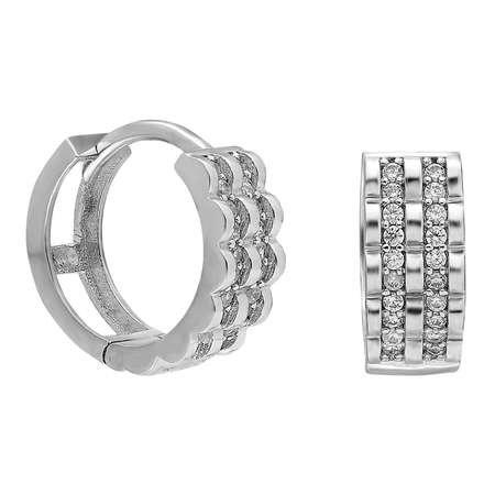 Üç Sıra Zirkon Taşlı Oval Tasarım 925 Ayar Gümüş Bayan Küpe - Thumbnail
