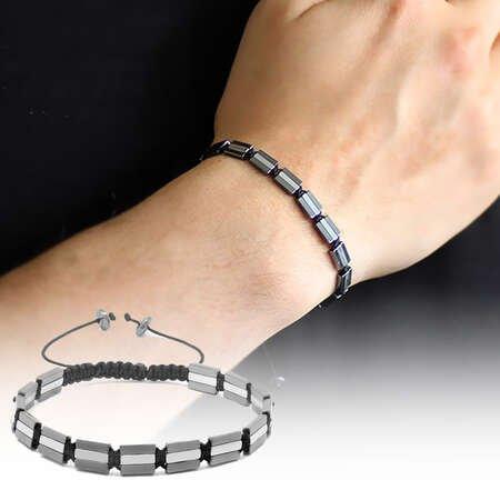 Üç Sıralı Prizma Tasarım Makrome Örgülü Silver-Gri Hematit Doğaltaş Bileklik - Thumbnail