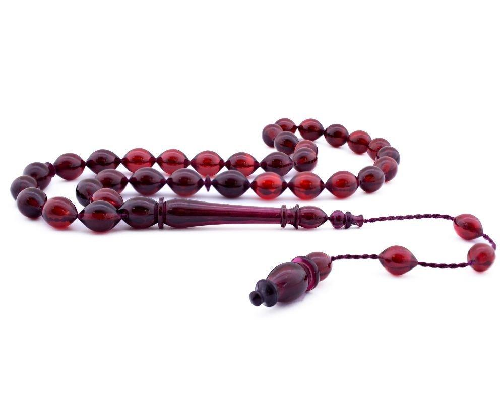 Usta İşçiliği Arpa Kesim Kırmızı Bakalit Kehribar Tesbih - 2