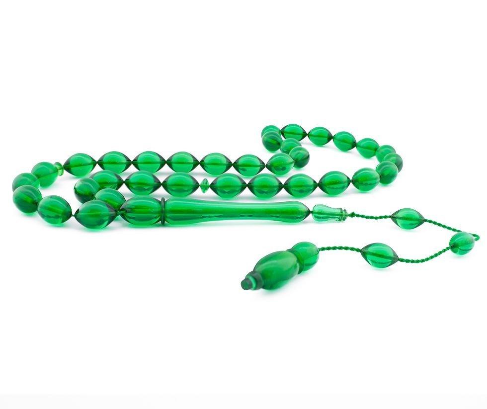 Usta İşçiliği Arpa Kesim Yeşil Bakalit Kehribar Tesbih
