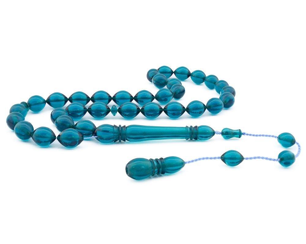 Usta İşçiliği Mavi Bakalit Kehribar Tesbih