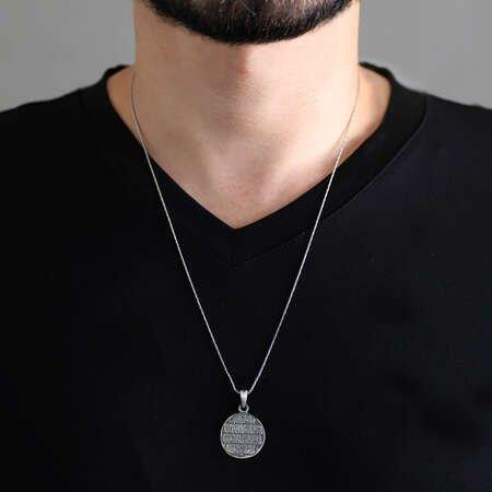 Üzerinde Nazar Ayeti Yazılı 925 Ayar Gümüş Cevşen Kolye - Thumbnail
