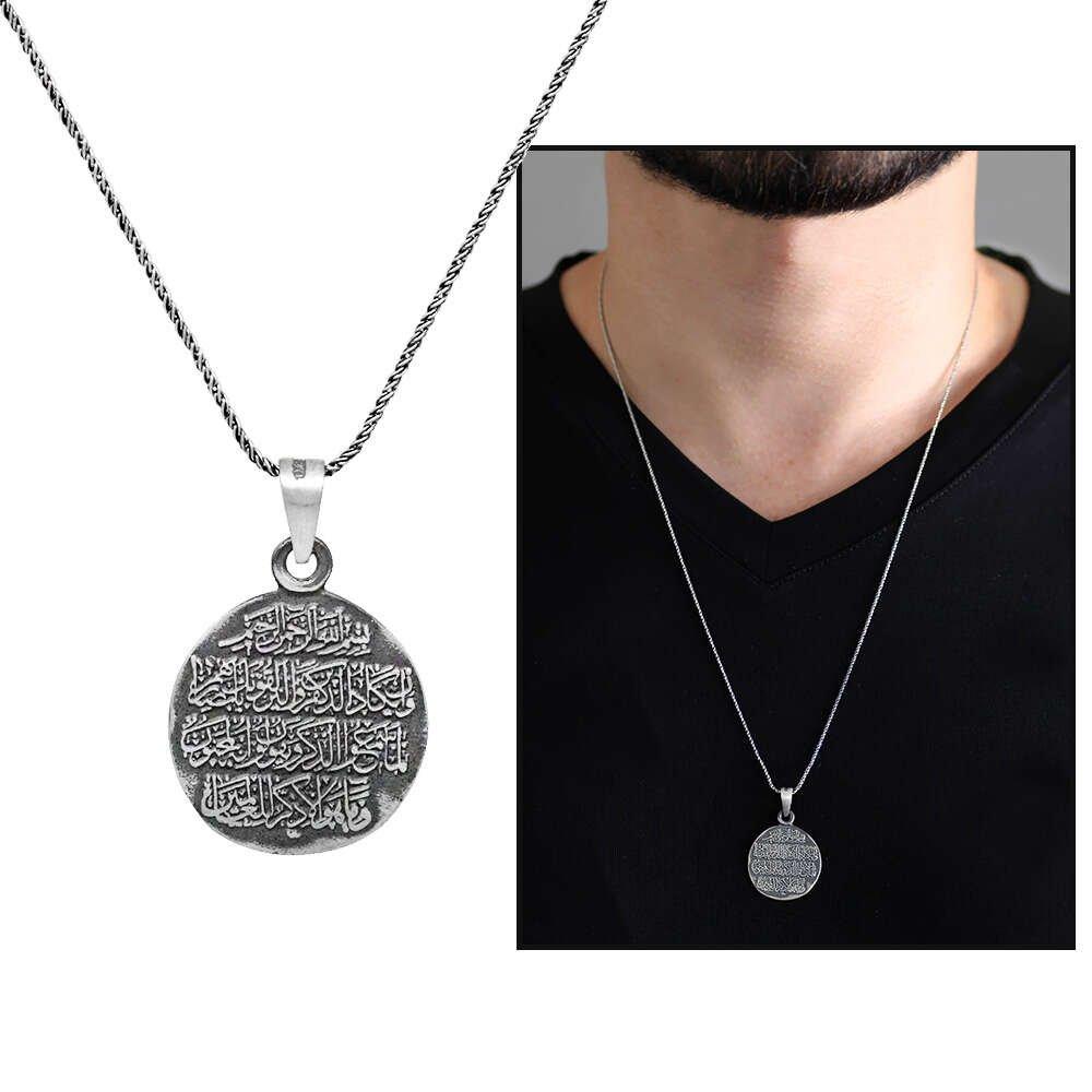 Üzerinde Nazar Ayeti Yazılı 925 Ayar Gümüş Cevşen Kolye