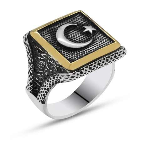 V tasarım Ayyıldız Motifli 925 Ayar Gümüş Erkek Yüzük - Thumbnail