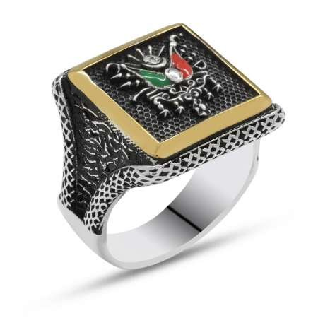 V tasarım Osmanlı Arma Motifli 925 Ayar Gümüş Erkek Yüzük - Thumbnail