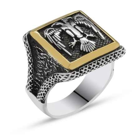 V tasarım Selçuklu Çift Kartal Motifli 925 Ayar Gümüş Erkek Yüzük - Thumbnail