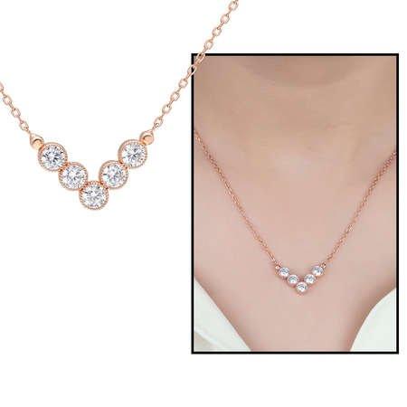 V Tasarım Zirkon Taşlı Roz Renk 925 Ayar Gümüş Bayan Kolye - Thumbnail