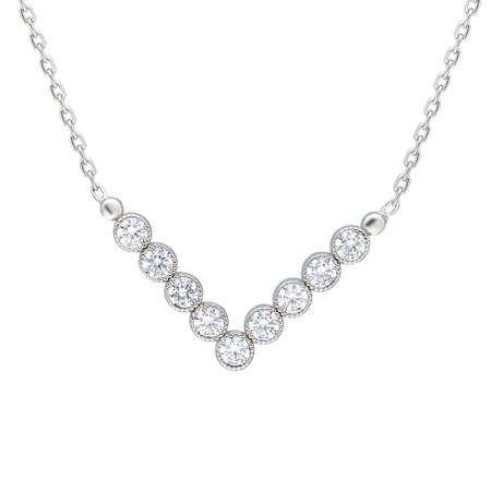 V Tasarım Zirkon Taşlı Silver Renk 925 Ayar Gümüş Bayan Kolye - Thumbnail
