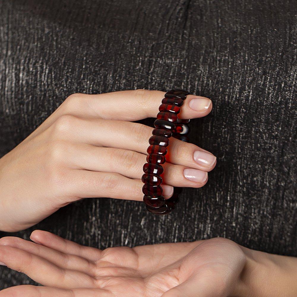Vişne Rengi Doğal Damla Kehribar Rolex Unisex Bileklik