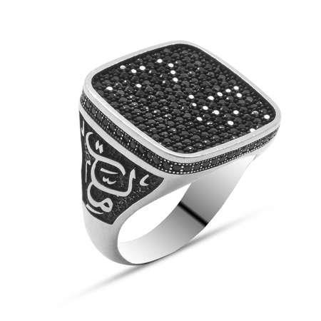 Yanlarda Vatan Millet Yazılı Siyah Mikro Zirkon Taşlı 925 Ayar Gümüş Erkek Yüzük - Thumbnail