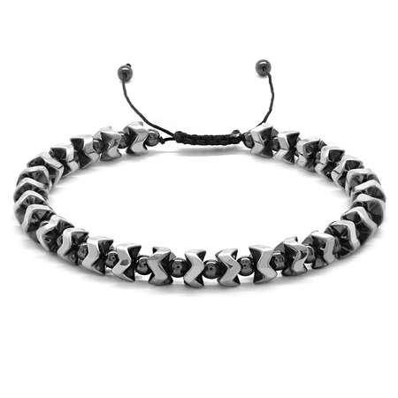 Yarasa Tasarım Makrome Örgülü Silver-Siyah Hematit Doğaltaş Bileklik - Thumbnail