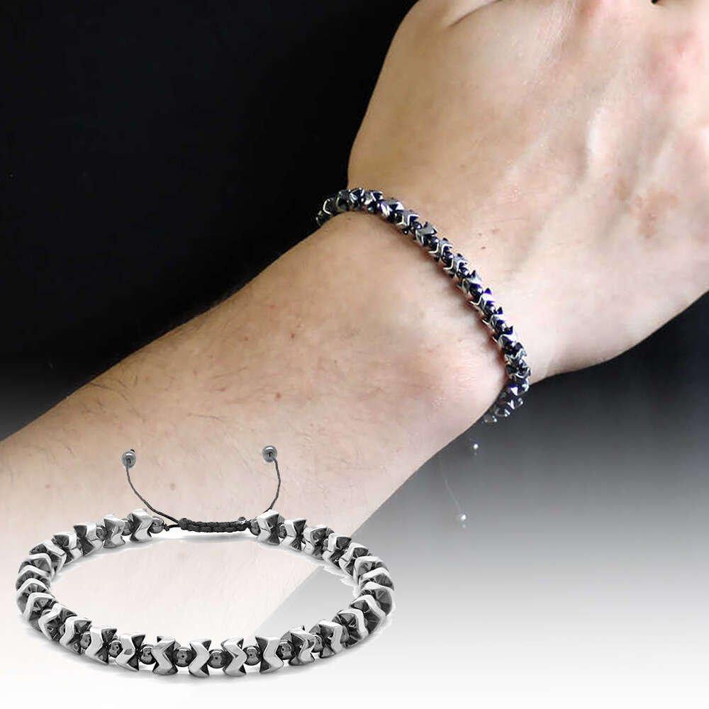 Yarasa Tasarım Makrome Örgülü Silver-Siyah Hematit Doğaltaş Bileklik