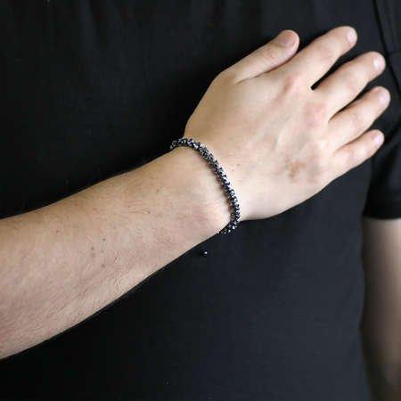 Yarasa Tasarım Makrome Örgülü Siyah Hematit Doğaltaş Bileklik - Thumbnail