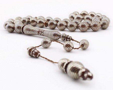 Yasin Demir Ustadan Tamamı Gümüş İşlemeli Kuka Tesbih - Thumbnail